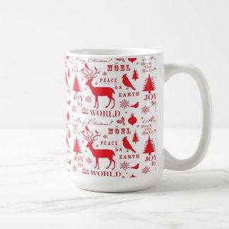 Rustikaler Weihnachtsren-Baum-Vogel-Feiertag Teetasse
