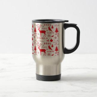 Rustikaler Weihnachtsren-Baum-Vogel-Feiertag Tee Tasse