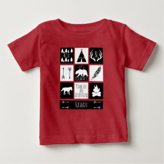 Rustikaler Wildnis-Tier-u. Baby-Name Baby T-shirt
