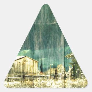 Rustikaler Winter immergrüne alte barnwood Dreieckiger Aufkleber