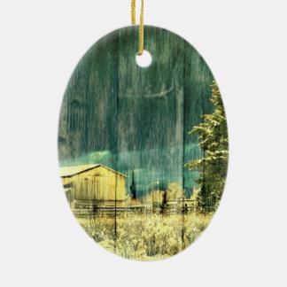 Rustikaler Winter immergrüne alte barnwood Keramik Ornament