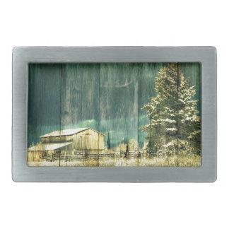 Rustikaler Winter immergrüne alte barnwood Rechteckige Gürtelschnalle