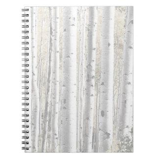 Rustikaler Winter-weiße Birken-Baum-Wald Notizblock