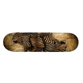 rustikaler Woodgrain Afrika-Safaritier Zebra Individuelles Deck