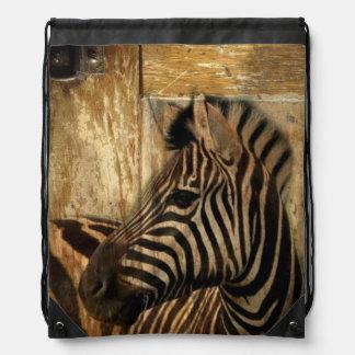 rustikaler Woodgrain Afrika-Safaritier Zebra Turnbeutel