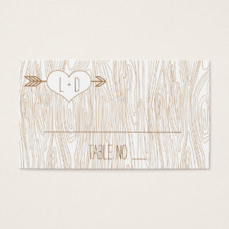Rustikaler Woodgrain, der Placecards Wedding ist Visitenkarte
