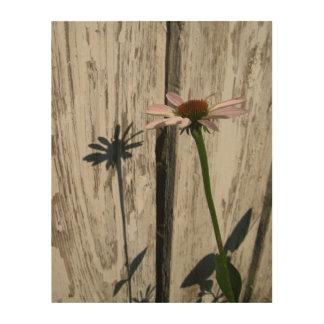 Rustikaler Zaun und Blume Holzleinwand