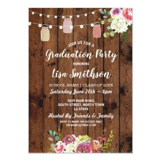 Rustikales Abschluss-Party rüttelt hölzerne Blumen Karte
