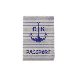 Rustikales Ankerreisenautischmonogramm Passhülle
