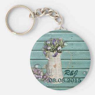 rustikales aquamarines barnwood Blumenlandhochzeit Schlüsselbänder