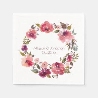 Rustikales Aquarell Burgunder rosa Blumen| Serviette