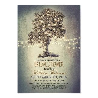 Rustikales Baum- u. Schnurlicht-Brautparty 12,7 X 17,8 Cm Einladungskarte
