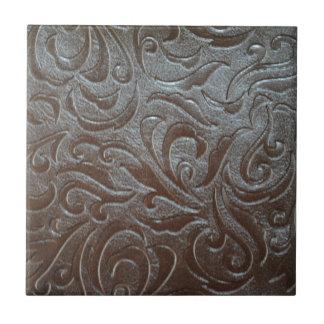 Rustikales bearbeitetes Leder des Westernlandes Keramikfliese