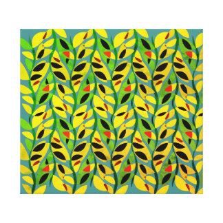 Rustikales Blatt-Rebe-Muster Leinwanddruck