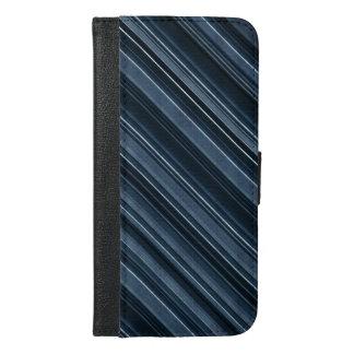 """""""Rustikales blaues"""" Streifen-Muster iPhone 6/6s Plus Geldbeutel Hülle"""