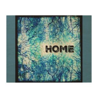 Rustikales blaues Zuhause-Zeichen Holzwanddeko