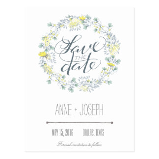 Rustikales Blumen Save the Date Postkarte