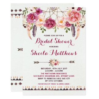 Rustikales BlumenBoho Einladungs-Brautparty laden 12,7 X 17,8 Cm Einladungskarte