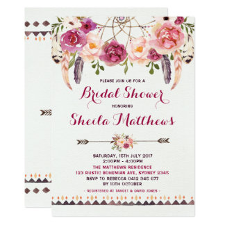 Rustikales BlumenBoho Einladungs-Brautparty laden Karte