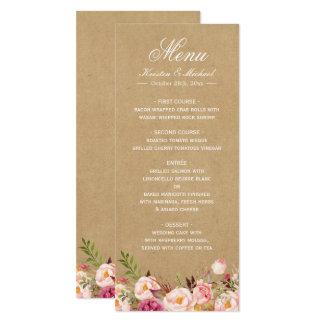 Rustikales Blumenelegantes schickes Hochzeits-Menü 10,2 X 23,5 Cm Einladungskarte