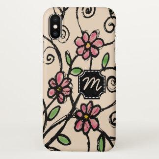 Rustikales Blumenmuster mit Monogramm iPhone X Hülle