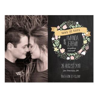 Rustikales Boho Wreath-Tafel-Foto Save the Date Postkarte