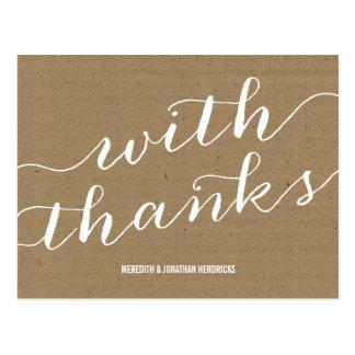 Rustikales Braunes Packpapier danken Ihnen Postkarte