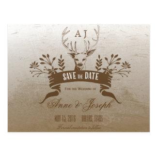 Rustikales Geweih Save the Date Postkarte