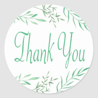 Rustikales Grün danken Ihnen Watercolor-Blätter, Runder Aufkleber