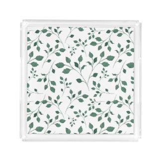 Rustikales grünes Aquarell-Laub-Muster Acryl Tablett
