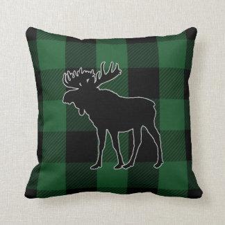 Rustikales grünes Elch-Tier des Büffel-Karo-  Kissen