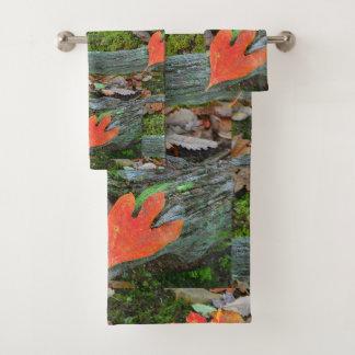 Rustikales Herbst-Blätter Badhandtuch Set