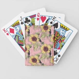 Rustikales Herbst-Sonnenblume-Muster Bicycle Spielkarten