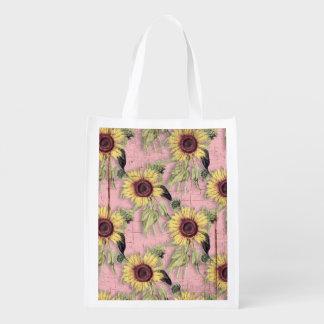 Rustikales Herbst-Sonnenblume-Muster Wiederverwendbare Einkaufstasche