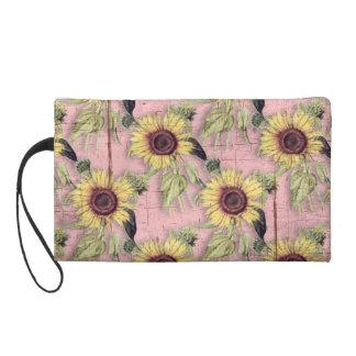 Rustikales Herbst-Sonnenblume-Muster Wristlet Handtasche