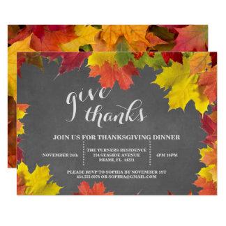 Rustikales Herbstlaub-Tafel-Erntedank-Abendessen 12,7 X 17,8 Cm Einladungskarte