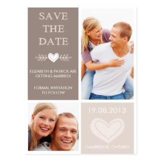 Rustikales Herz kritzelt Save the Date Foto-Postka