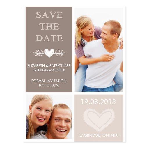 Rustikales Herz kritzelt Save the Date Postkarte