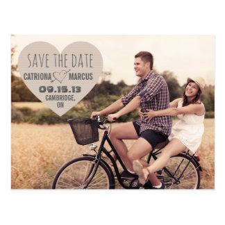 Rustikales Herz-Vintage Foto-Save the Date Postkar Postkarten