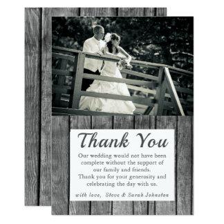 Rustikales Hochzeits-Foto danken Ihnen Karten Karte