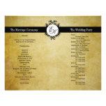 Rustikales Hochzeits-Programm-Vintages Monogramm
