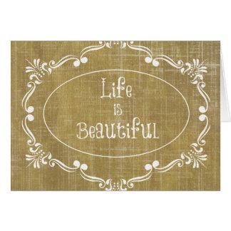 Rustikales Holz: Das Leben ist schönes Zitat Karte