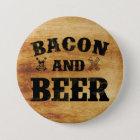 Rustikales Holz des Speckes und des Bieres Runder Button 7,6 Cm