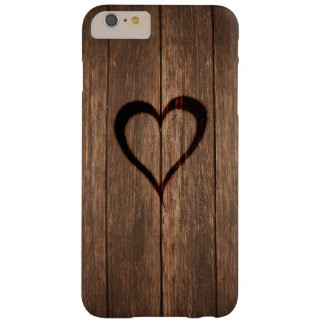 Rustikales Holz gebrannter Herz-Druck Barely There iPhone 6 Plus Hülle