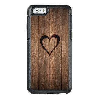 Rustikales Holz gebrannter Herz-Druck OtterBox iPhone 6/6s Hülle