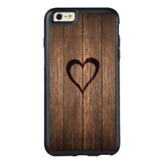 Rustikales Holz gebrannter Herz-Druck OtterBox iPhone 6/6s Plus Hülle