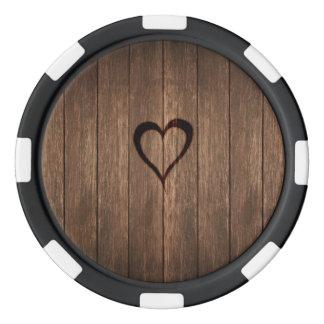 Rustikales Holz gebrannter Herz-Druck Poker Chips