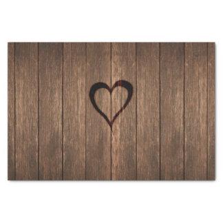 Rustikales Holz gebrannter Herz-Druck Seidenpapier