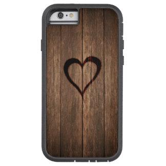Rustikales Holz gebrannter Herz-Druck Tough Xtreme iPhone 6 Hülle