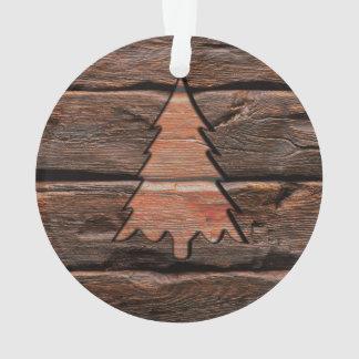 Rustikales Holz gravierte immergrüne Ornament